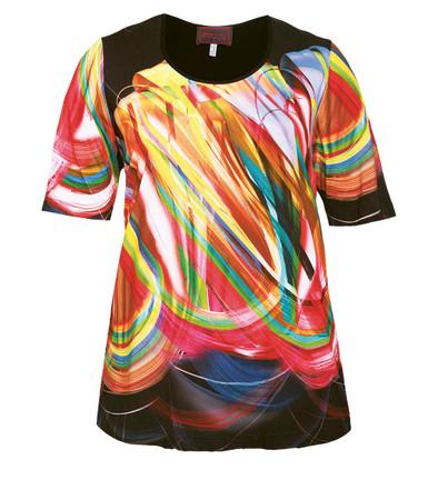 Sempre Piu ❤ kurzarm Shirt für mollige Damen Schwarz Bunt