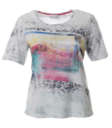Chalou ❤ kurzarm Shirt mit Strass für mollige Damen Grau Bunt