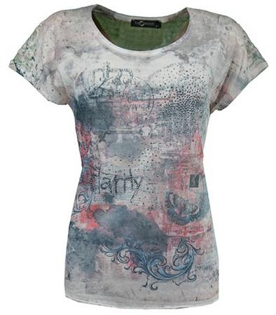 No Secret T-Shirt Damen kurzarm Rosa Bunt mit Strass große Größen