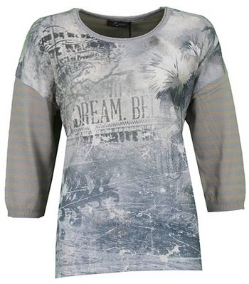 No Secret 3/4 Arm Damen Jersey Shirt mit Motiv in Grau Beige