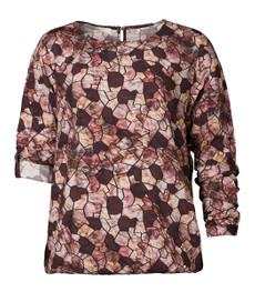 Langarm-Shirtbluse Damen aus Viskose mit Gummizug am Bund Bordeaux Rot 001