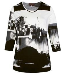 3/4-Arm Shirt für mollige Damen Schwarz Weiß kaufen 001