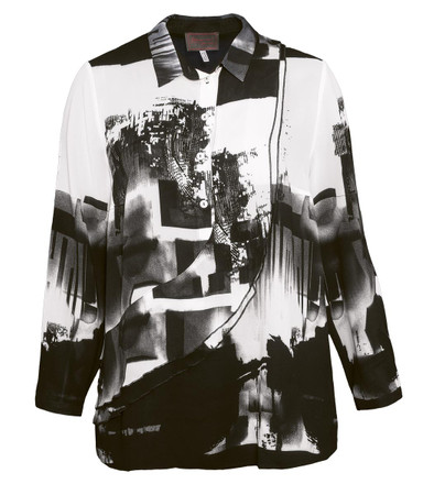 Chiffon Tunika-Bluse Damen Langarm mit Volants aus Viskose kaufen