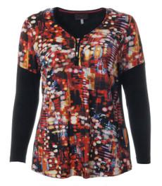 Langarmshirt für mollige Damen Schwarz Bunt kaufen 001