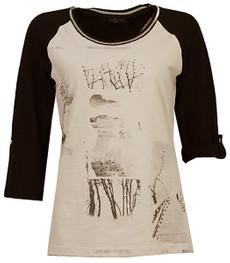 Raglan Shirt Damen 3/4 Arm Baumwolle Schwarz Beige 001