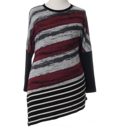Seeyou Damen Longshirt Langarm asymmetrischer Saum Grau Rot