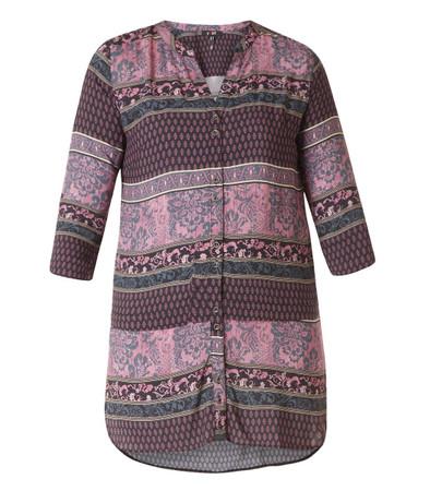 Yesta Damen-Bluse lila 3/4 Arm Viskose Muster Übergröße