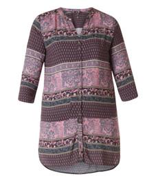 Yesta Damen-Bluse lila 3/4 Arm Viskose Muster Übergröße 001