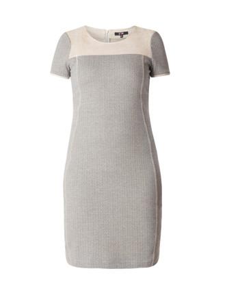 Yesta Kleid Herbst knielang Damen große Größen Grau Beige