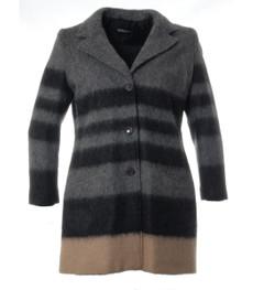Wollmantel Damen elegant Grau A-Linie große Größen kaufen 001