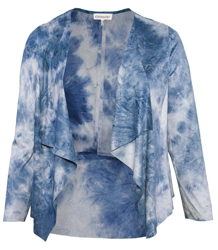 quality design f9f39 07f8d Chalou Shirtjacke Damen Jacke aus künstlichem Veloursleder Blau