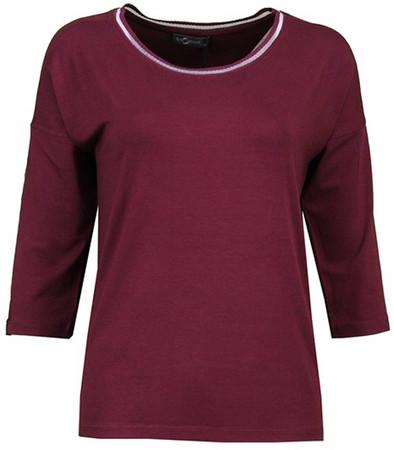 No Secret 3/4 Arm T-Shirt Damen große Größen Bordeaux-Rot