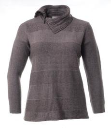 Rollkragenpullover Damen Baumwolle Blau Braun große Größen 001