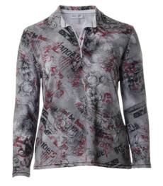 Poloshirts Langarm Damen Grau Blumenmuster xxl große Größen 001