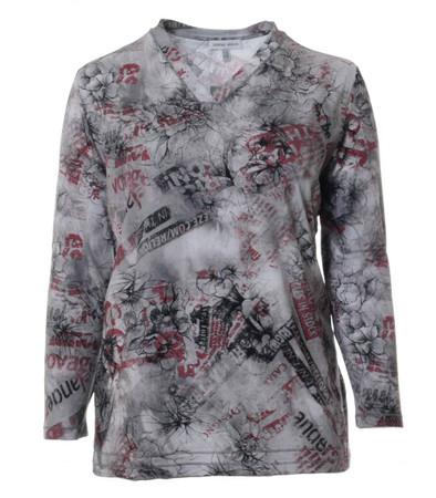 Damen Langarm Shirt V-Ausschnitt Blumenmuster Grau