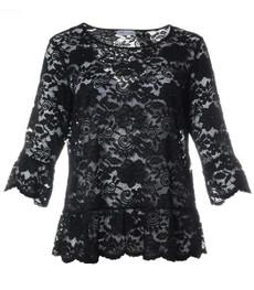 Shirt Damen Langarmshirt aus Spitze in Schwarz 001