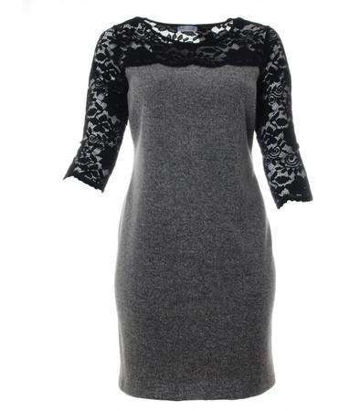 langes warmes Kleid mit Spitze große Größen für Standesamt Grau