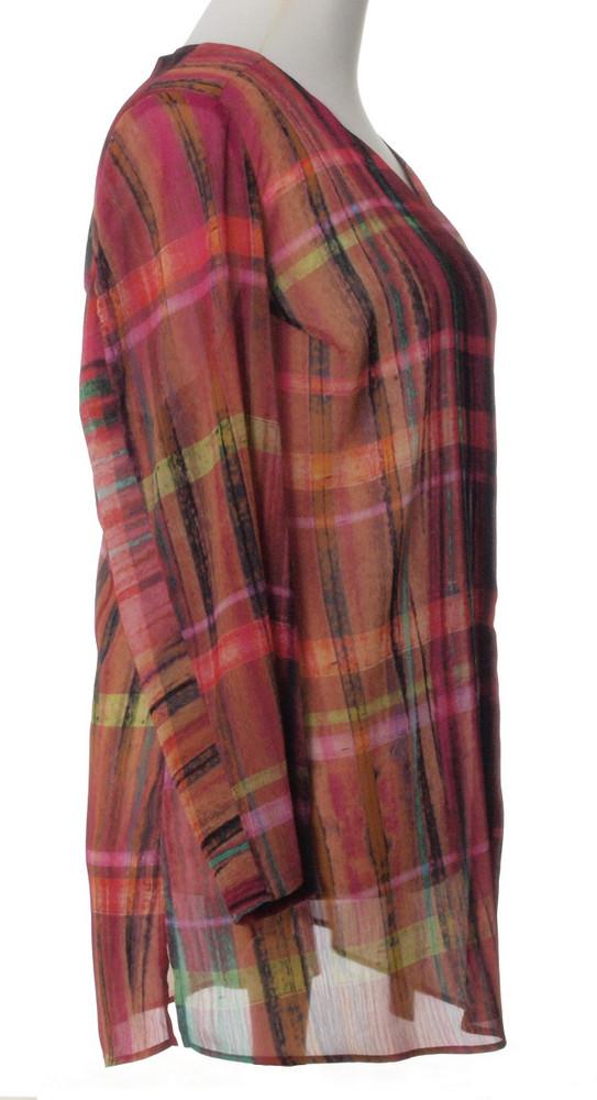 ecce251493b688 karierte Chiffon Bluse Damen Pink Bunt große Größen