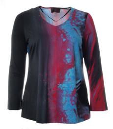 Langarmshirt Damen Rot Blau V-Ausschnitt mit Aufdruck 001