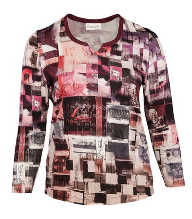 Chalou Damen Langarmshirt große Größen in Bordeaux-Rot kaufen