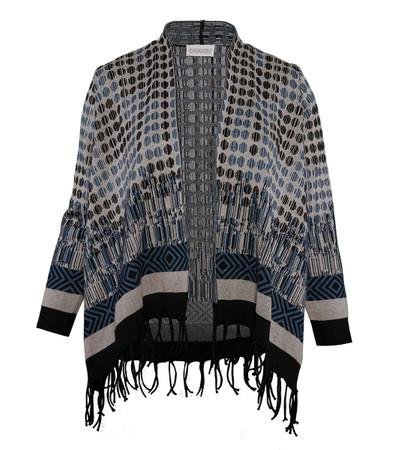Chalou Damen Strickjacke Cardigan Baumwolle Blau große Größen