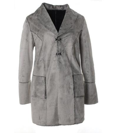 Sempre Piu Kurzmantel Damen Grau aus Teddy-Fleece große Größen