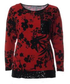 Shirt Damen Langarmshirt mit Pailletten in Rot große Größen 001