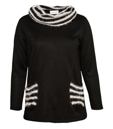 Chalou Damen Pullover Schwarz große Größen