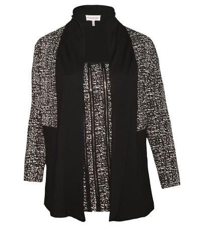 Twin-Set Kombination Top und Jacke große Größen Schwarz