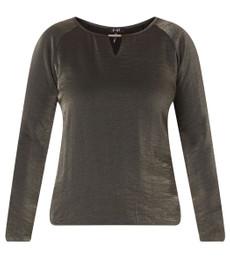 Glitzer Shirt für mollige Damen von Yesta in Schwarz Metallic 001