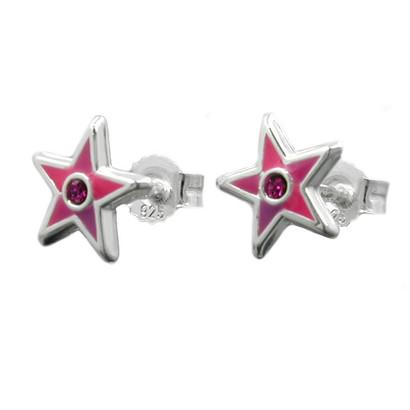 Kinder-Ohrstecker Stern nickelfrei Rosa Pink 925 Silber