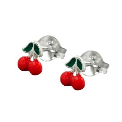 Kinder-Ohrstecker Kirschen nickelfrei Rot 925 Silber