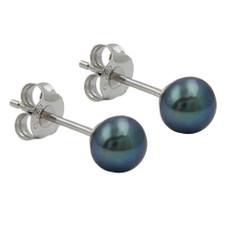 Ohrstecker 925 Silber Perlen Blau Grün Peacock 001