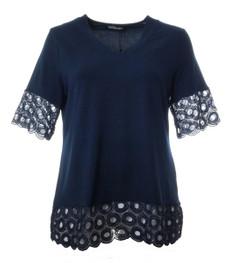 Longshirt Damen mit Spitze unten V-Ausschnitt Blau 001