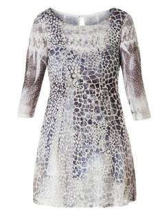 Leichtes Sommerkleid knielang A-Linie mit Ärmel Grau Weiß 001