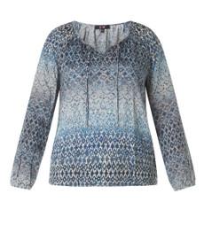 Bluse mit Gummizug am Saum in Jeans-Blau Langarm aus Viskose 001
