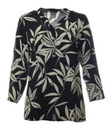 schwarze Tunika Langarm Blumen gemustert große Größe 001