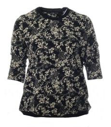 Halbarm Shirt Damen schwarz mit Blumen große Größen 001