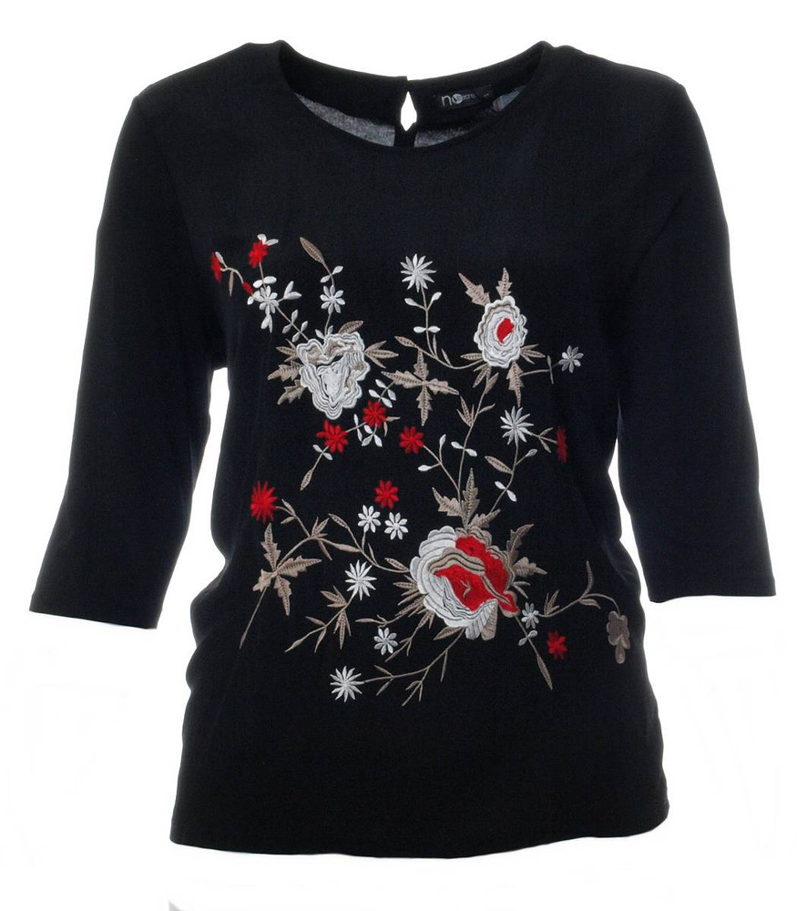 schwarzes shirt damen 3 4 arm bestickt mit blumen gro e. Black Bedroom Furniture Sets. Home Design Ideas