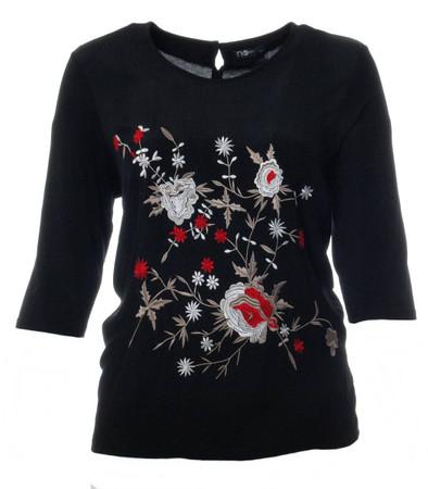 schwarzes Shirt Damen 3 4 Arm bestickt mit Blumen große Größen