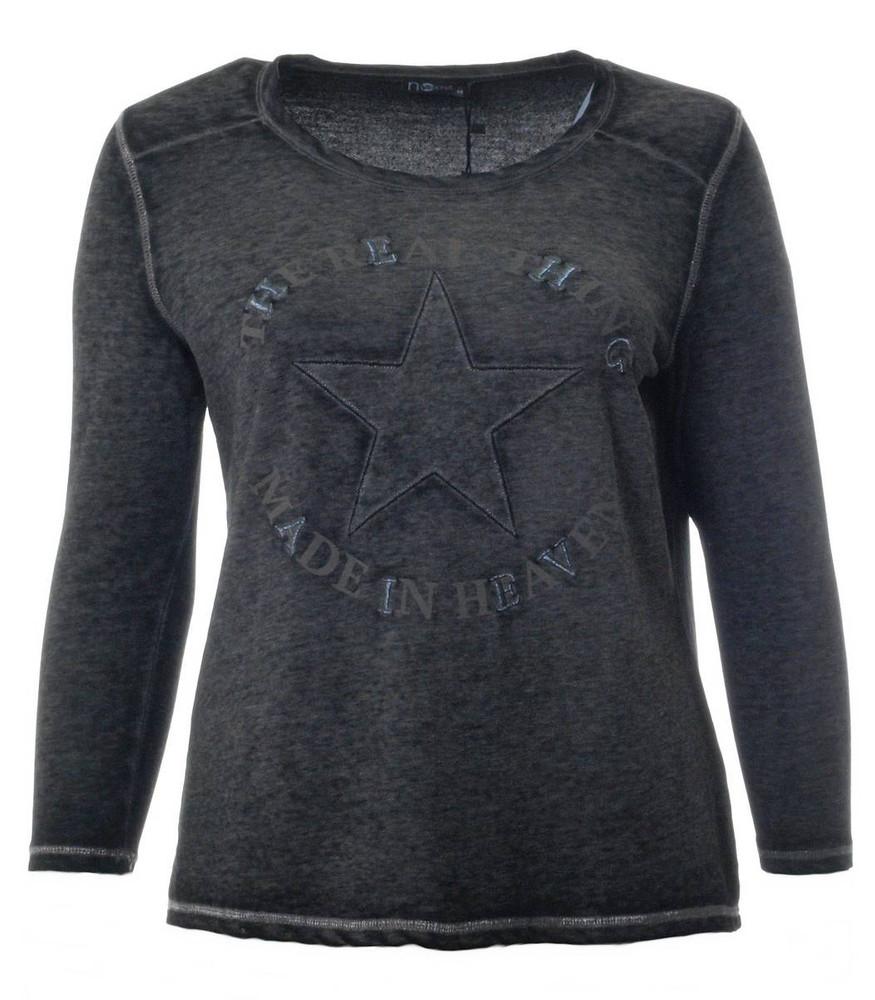 Sweatshirt Große Größen Damen Schwarz Grau Ohne Kapuze