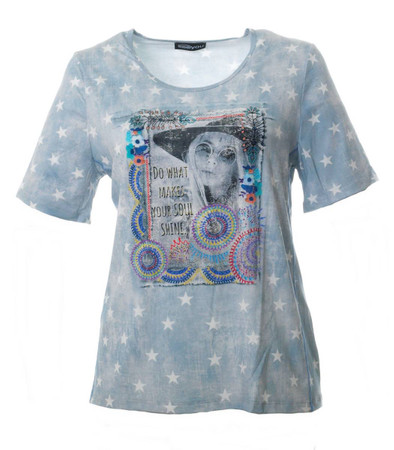 T-Shirt Sterne Damen große Größen Blau