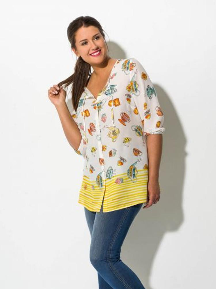 b4369c7a9718 schöne gelbe Bluse Damen in großen Größen kaufen – Bild 2