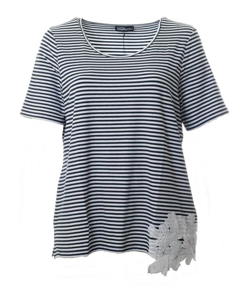 marine t shirt gestreift damen gro e gr en blau wei. Black Bedroom Furniture Sets. Home Design Ideas