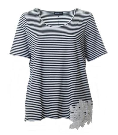 Marine T Shirt gestreift Damen große Größen Blau Weiß