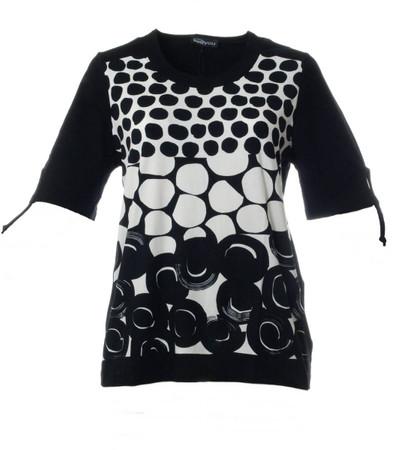 T Shirt mit Punkten für große Größen Damen in schwarz Weiß