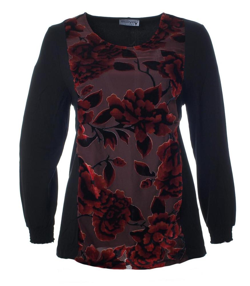 abend langarm-shirt in a-linie schwarz rot | mode für mollige ❤ damenmode  online shop für große größen
