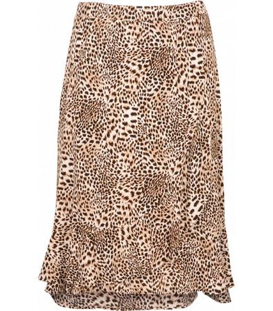 Langer Damen Rock Damen wadenlang Leopardenmuster Braun große Größen