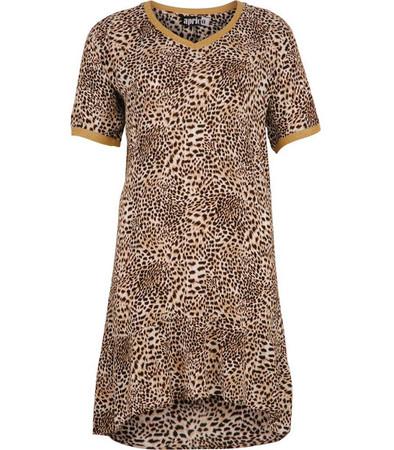 Damen Sommerkleid mit Leopardenmuster knielang  Braun Sand