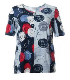 Kurzarm T-Shirt Damen Blau mit Kreis-Muster 001